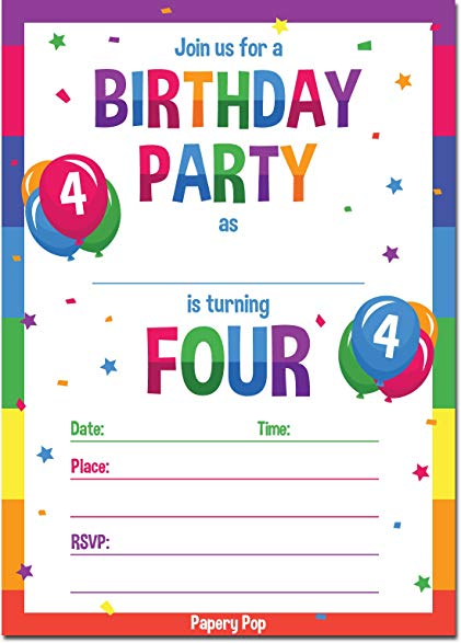4 year old birthday invitation ; 71lXzxfCv%252BL