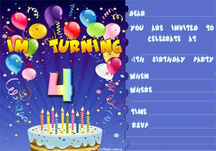 4 year old birthday invitation ; 8-im_turning_4