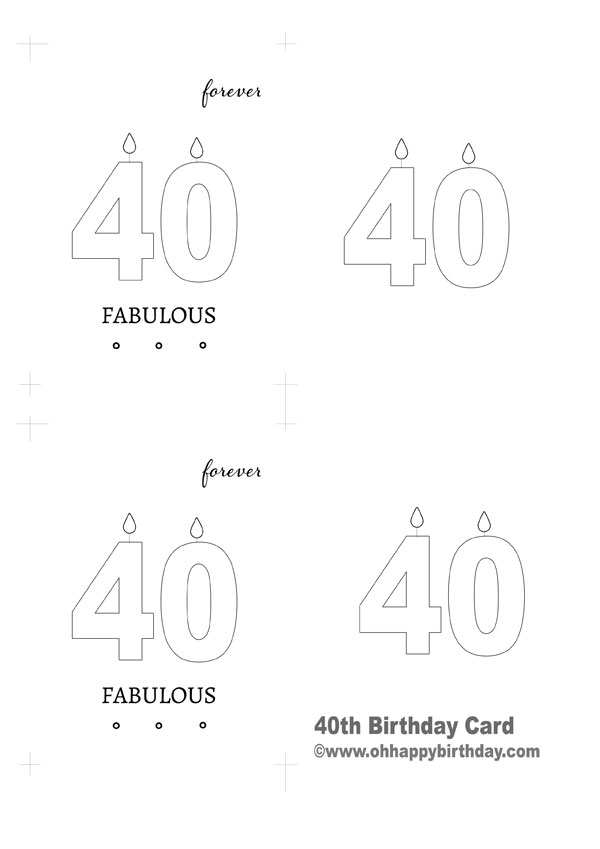 40th birthday card template free ; 40th-birthday-card-1-template
