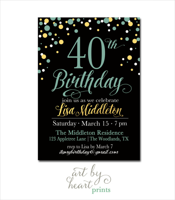 40th birthday card template free ; Navy-Black-40th-Birthday-Invitation-for-girl-