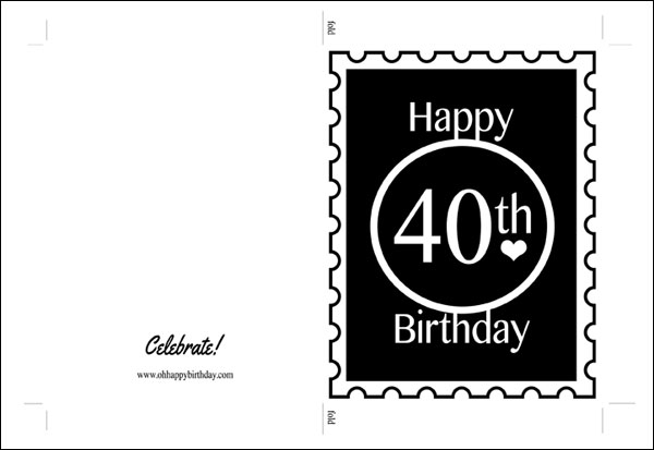 40th birthday card template free ; printable-40th-birthday-cards-happy-40th-birthday-card-black-print-on-kraft-cardstock-ideas
