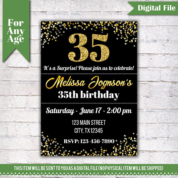 45th birthday invitation ; 35th-birthday-invitation-35th-birthday-invitation-birthday-party-invite-printable