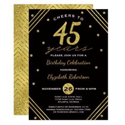 45th birthday invitation ; 75caab08f0eee029fa973c5eb276da36