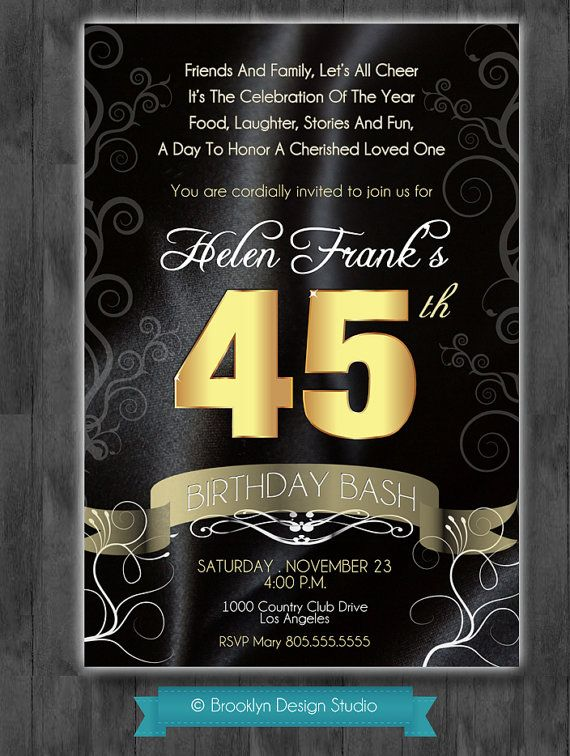 45th birthday invitation ; b031f3bf9a1a866e9cd96b2793abe922