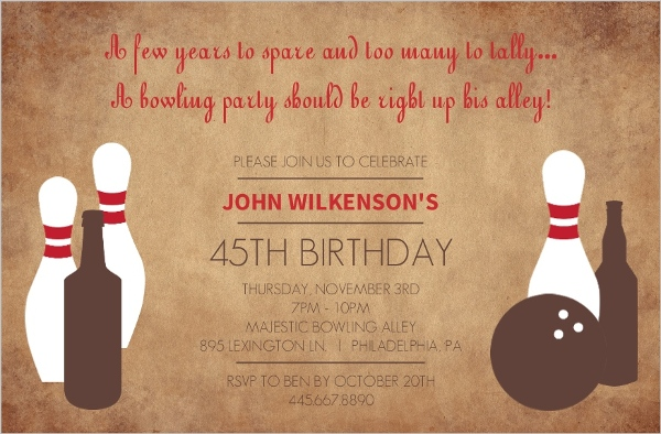 45th birthday invitation ; rustic-pins-adult-bowling-45th-birthday-invitation_2734_1_large