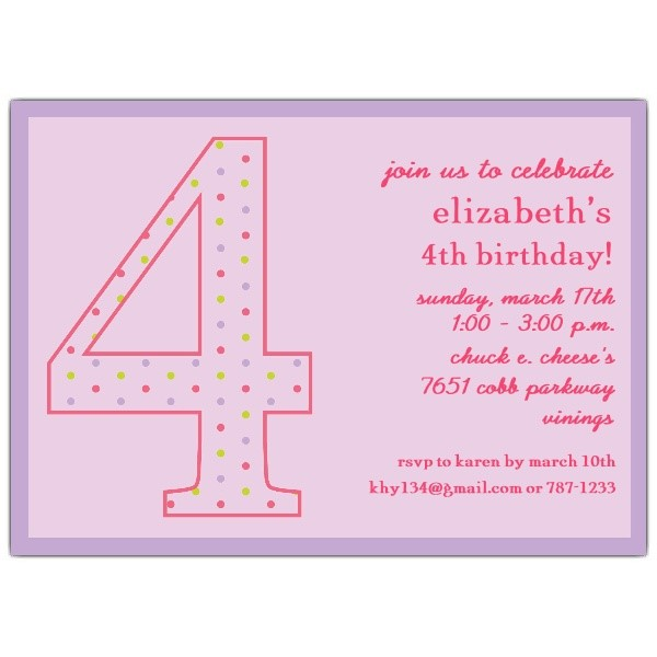 4th Birthday Invitation Wording Captivating 4Th As