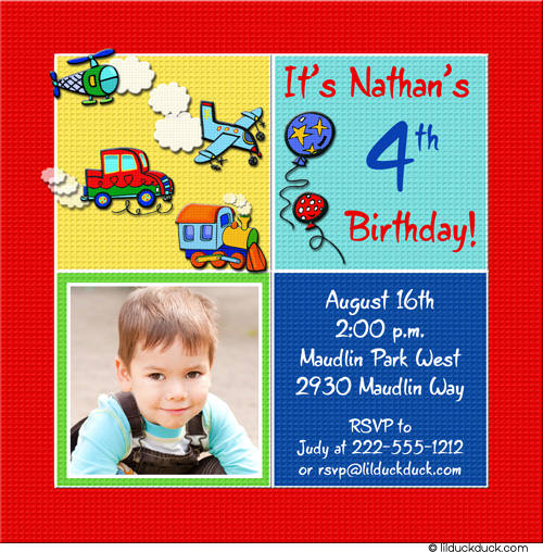 4th birthday invitation wording boy ; Transportation-1-photo-invitation-4th-birthday-boy