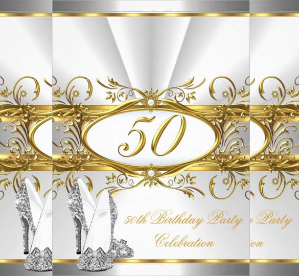 50 years birthday invitation card ; Gold-and-silver-coloured-50th-vintage-Birthday-Invitation-