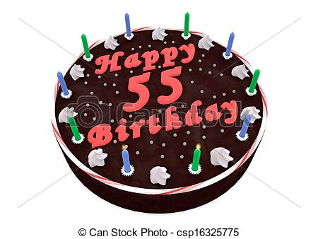 55th birthday cake photo ; chocolate-cake-for-55th-birthday-stock-illustrations_csp16325775