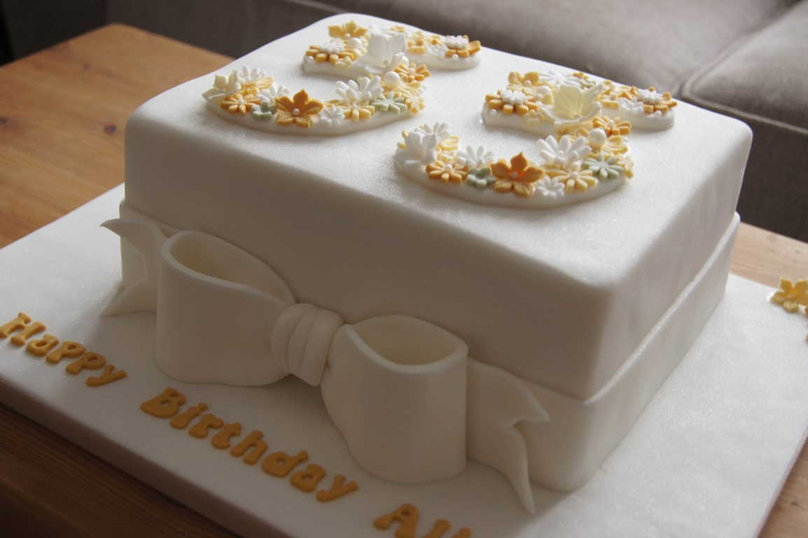 55th birthday cake photo ; floral-55th-birthday-cake-4