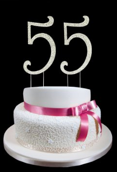 55th birthday cake photo ; large-55th-birthday-wedding-anniversary-number-cake-topper-with-sparkling-rhinestone-crystals-4-1-2-tall-cake-decoration_13387854