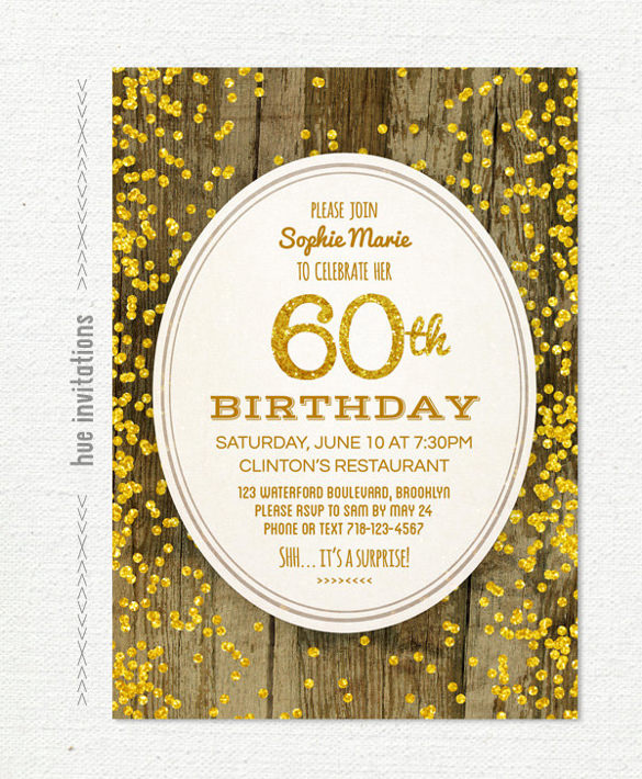 60th birthday invitation examples ; 60th-birthday-invitation-gold-glitter-birthday-invitation
