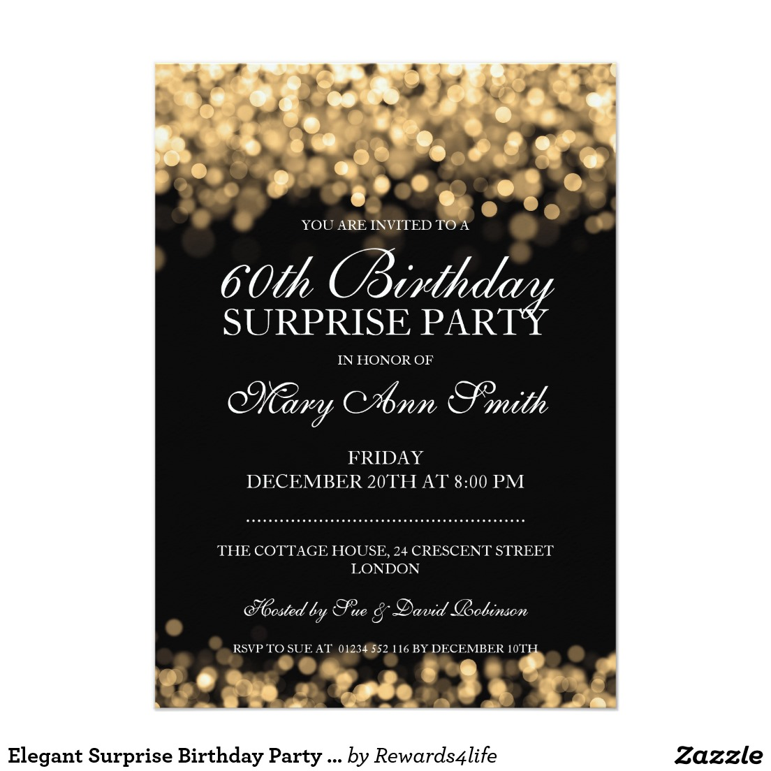 60th birthday invitation examples ; surprise-sixty