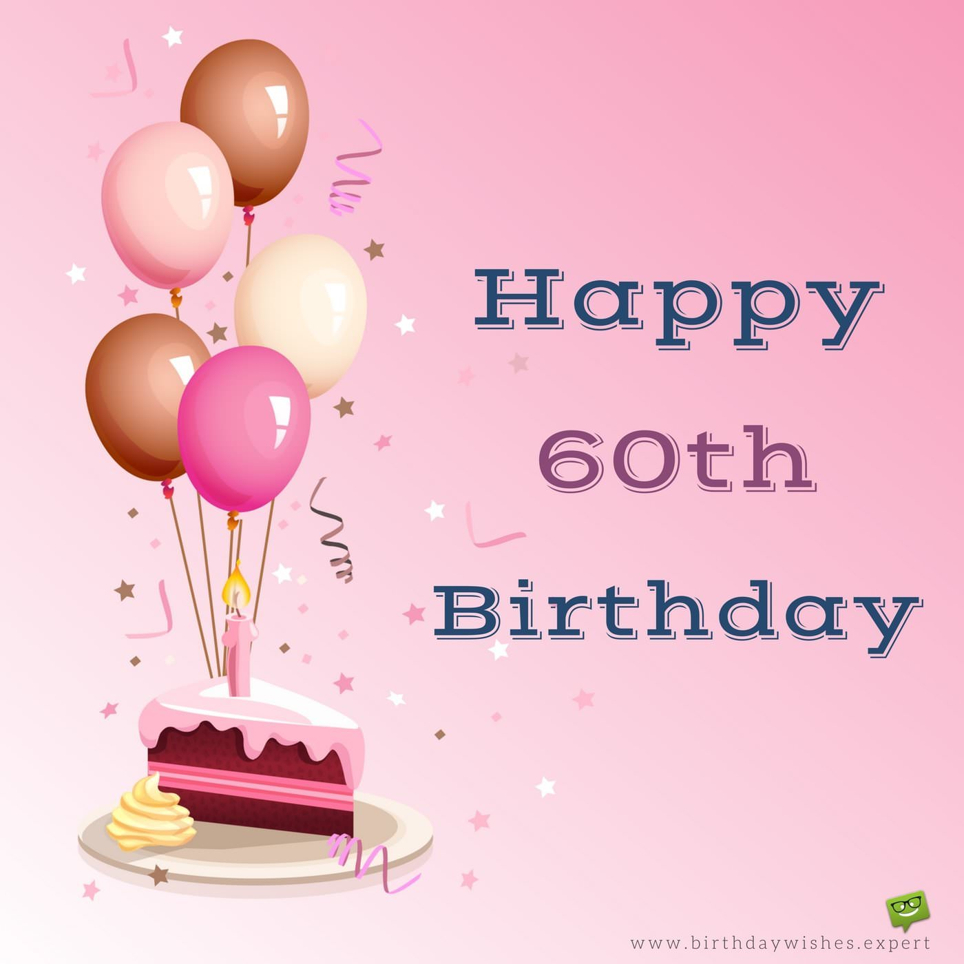 60th birthday message for mother ; Happy-60th-Birthday-wish-on-image-with-cake-and-celebration-decoration-elements
