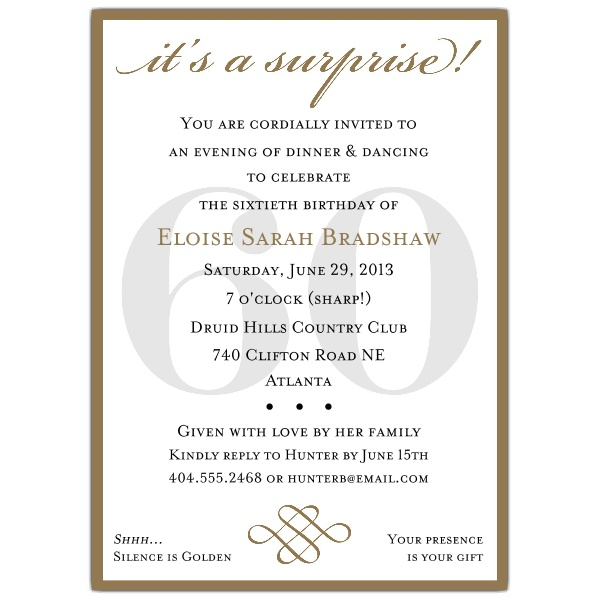 60th birthday surprise party invitation card ; 607-57-60sg-z
