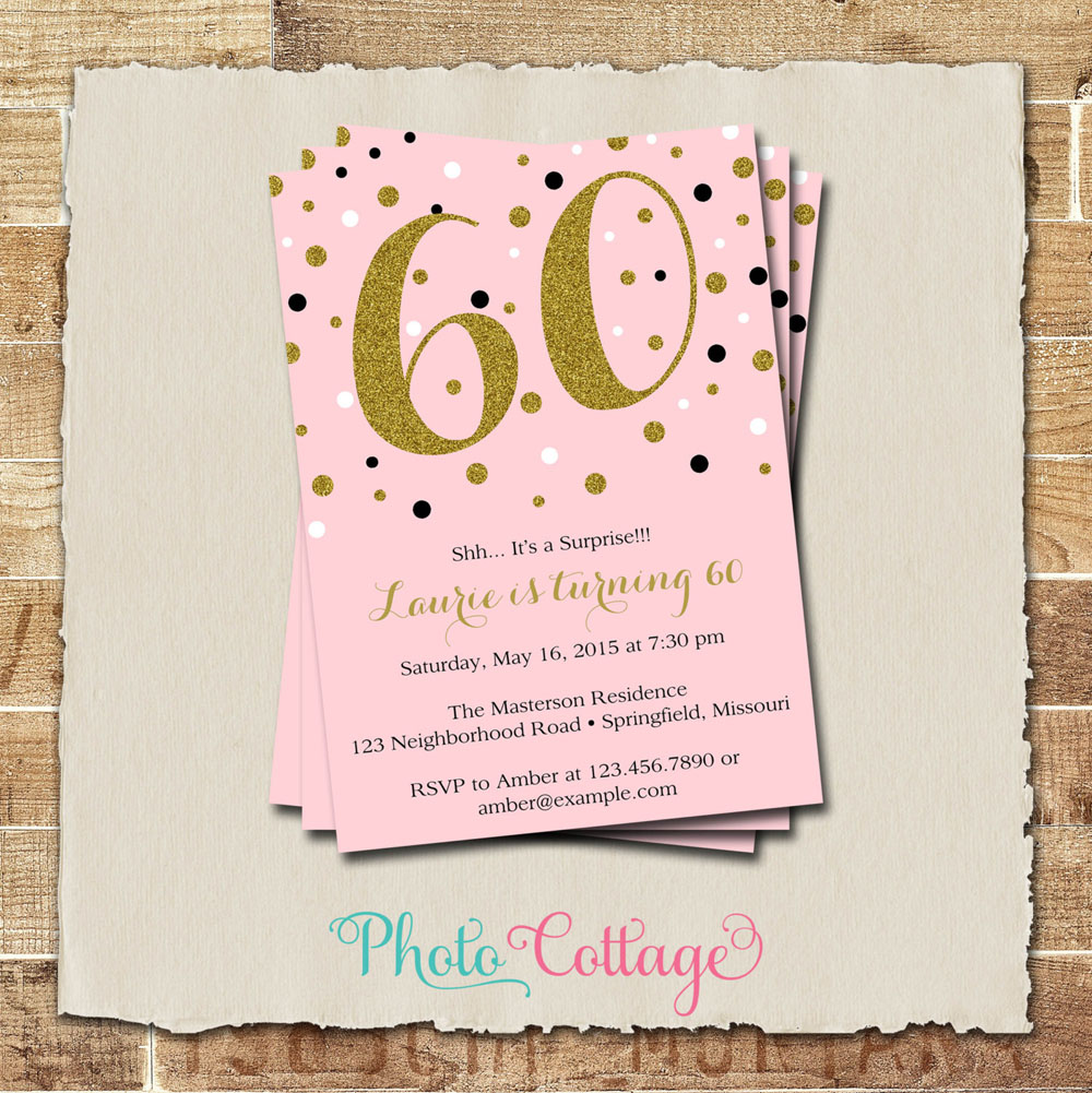 60th birthday surprise party invitation card ; 60th-Birthday-Invitations-With-Gold-Glitter