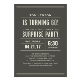 60th birthday surprise party invitation card ; surprise-sixty1