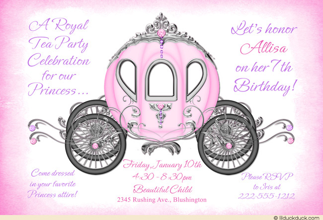 7th birthday invitation for girl ; Fairytale-7th-birthday-tea-party-Invitations-jewel-pink-purple