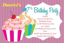 7th birthday invitation for girl ; cup_cake_delight_postcard_in_fuschia_pink_224039_1