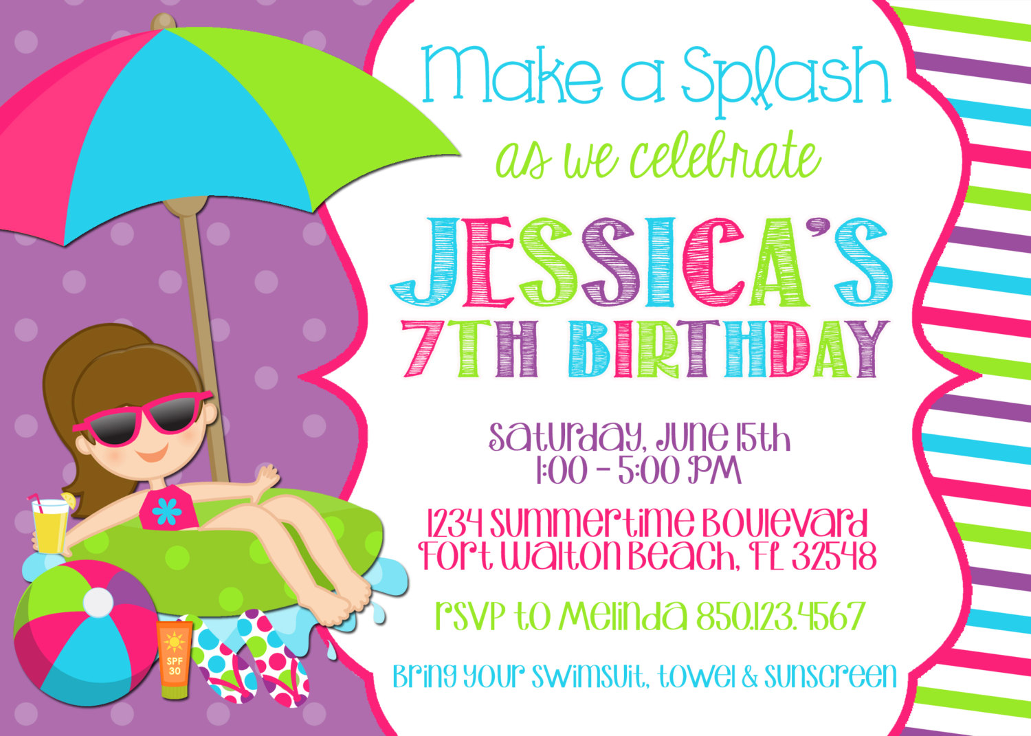 7th birthday party invitation ideas ; Pool-party-birthday-invitations-for-a-exceptional-party-invitation-design-with-exceptional-layout-1