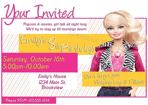 7th birthday party invitation ideas ; barbie-birthday-party-invitations-wording