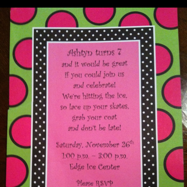 7th birthday party invitation wording ; 86e0f58ad84f92112a0aaec3b84f69ce--skating-party-ice-skating