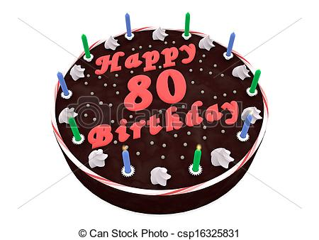 80th birthday cake clipart ; chocolate-cake-for-80th-birthday-drawings_csp16325831