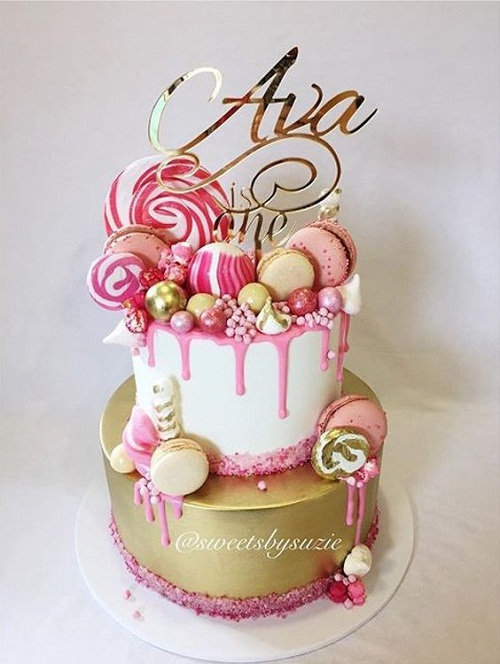 a birthday cake photo ; macarons-and-lollipops-birthday-cakes-for-girls
