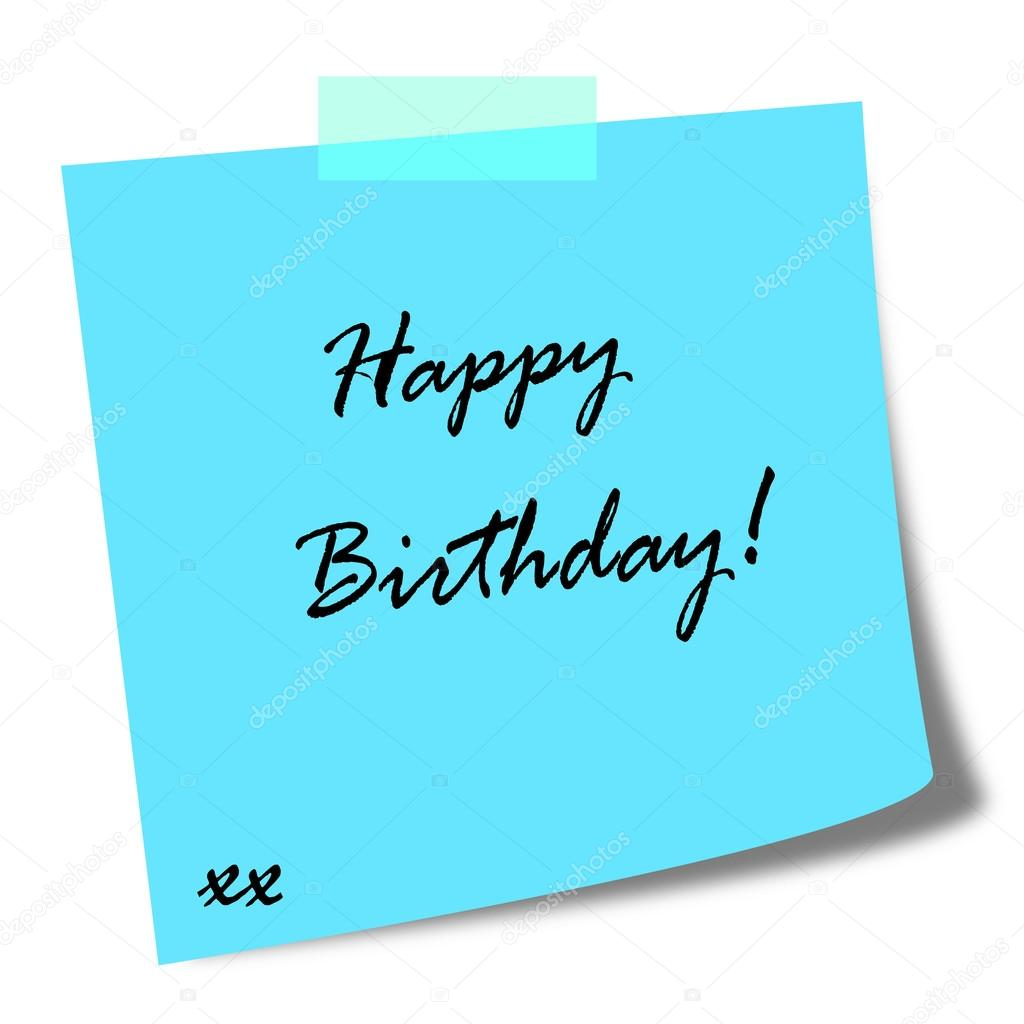 a birthday note ; depositphotos_113410152-stock-photo-happy-birthday-note-on-post
