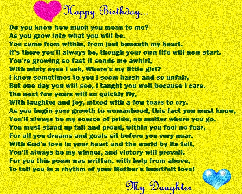 a mother's poem to her daughter on her birthday ; happy-birthday-daughter-poems-funny-from-mom