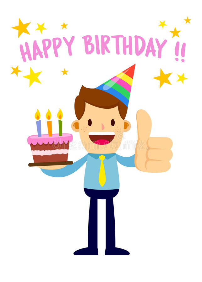 a picture saying happy birthday ; businessman-holding-cake-saying-happy-birthday-vector-stock-party-hat-89111909