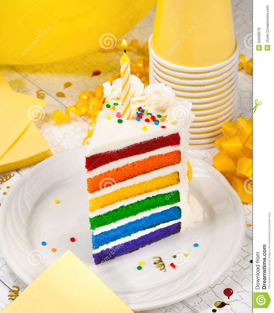 a piece of birthday cake ; slice-birthday-cake-colourful-lit-candle-yellow-party-decorations-background-34508979