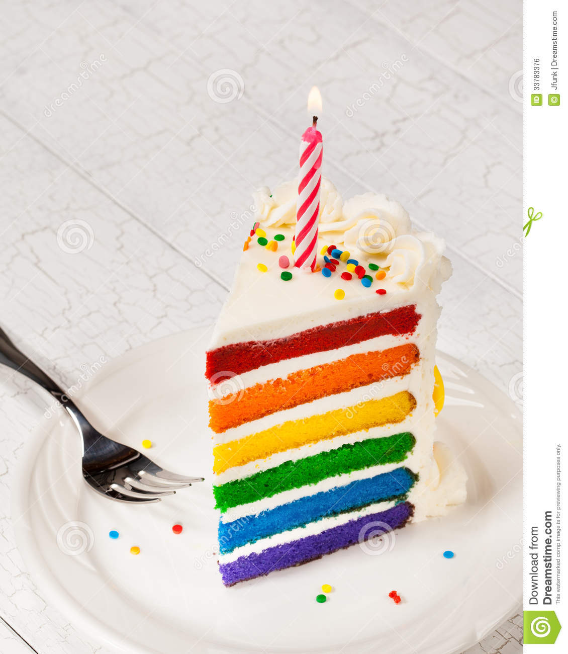 a piece of birthday cake ; slice-birthday-cake-colourful-rainbow-layered-decorated-sprinkles-buttercream-icing-lit-candle-copy-space-33783376