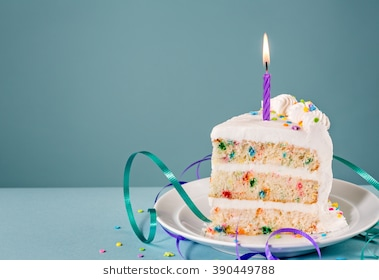 a piece of birthday cake ; slice-birthday-cake-lit-candle-260nw-390449788