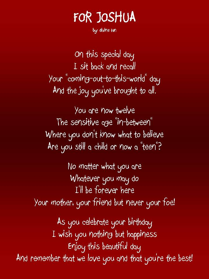 a poem for my son on his birthday ; joshua
