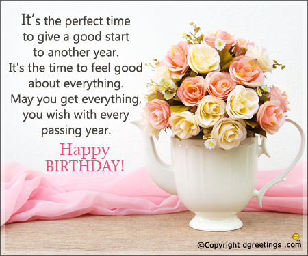 a wonderful birthday message ; perfect-time-card