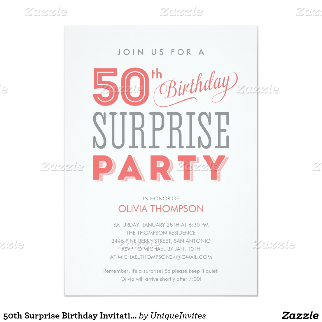 adults only birthday invitation wording ; surprise-fifty