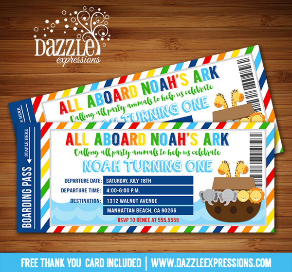 all aboard birthday invitation ; Noahs_Ark_Ticket