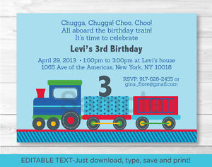 all aboard birthday invitation ; s-l300