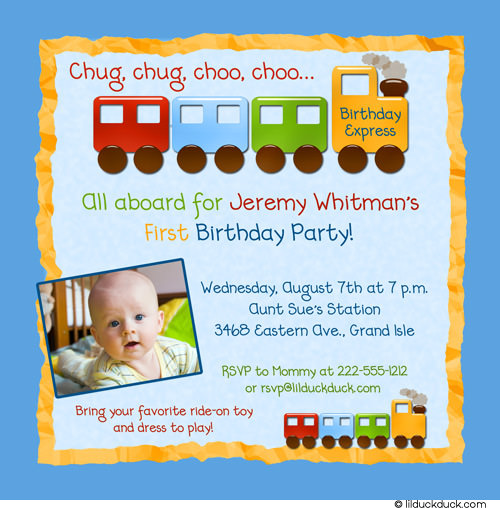 all aboard birthday invitation ; train-birthday-invitation-1st-bright-blue-yellow-boy-photo
