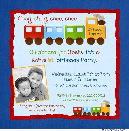 all aboard birthday invitation ; train-brothers-birthday-invitation-photo-blue-red