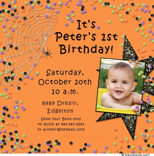 baby 1st birthday invitation wording ; Confetti-Halloween-orange-1st-birthday-invitation-photo