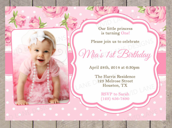 Baby Birthday Invitation Templates Free Download First Card Template