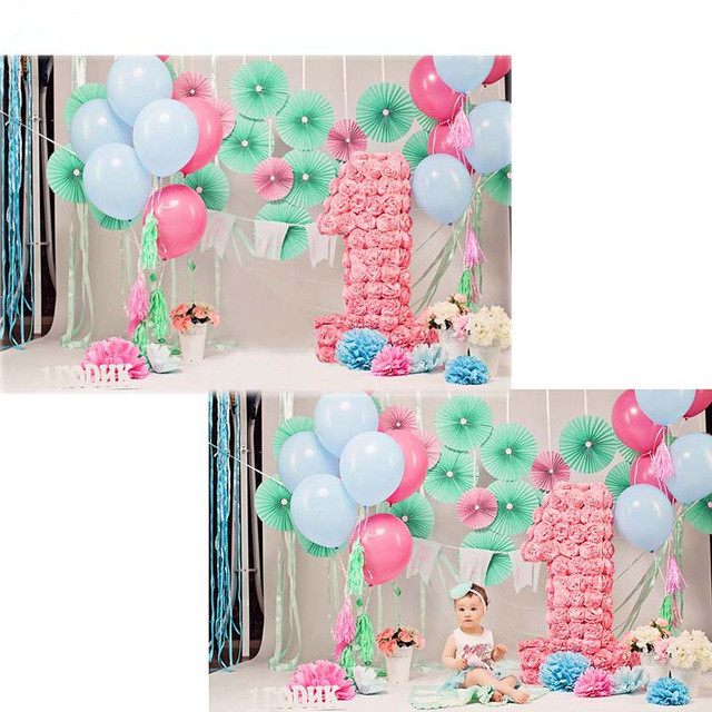 baby first birthday backdrop ; TR-Baby-1st-Birthday-Backdrop-for-Photography-Colorful-Balloons-Vinyl-Background-Pink-Flowers-Backdrops-for-Kids