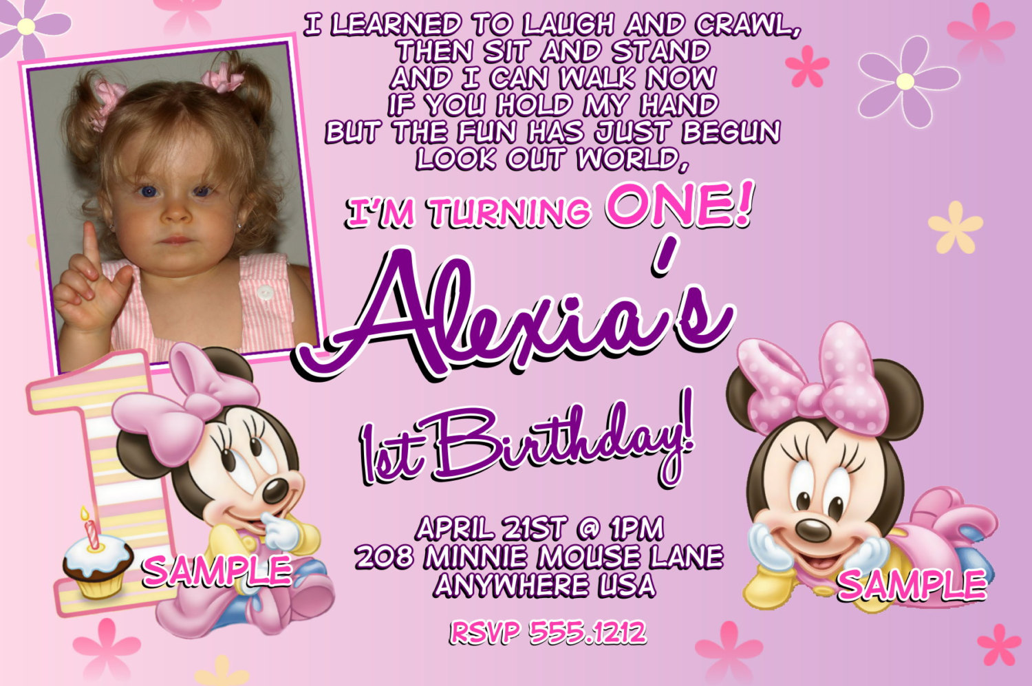 baby girl 1st birthday invitation sayings ; Minnie-Mouse-1st-Birthday-Invitation