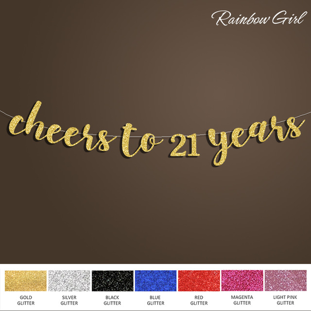 backdrop design for 21st birthday ; Cheers-to-21-Years-Banner-Happy-Birthday-Sign-Backdrop-21st-Birthday-Decoration-Gold-Silver-Glitter