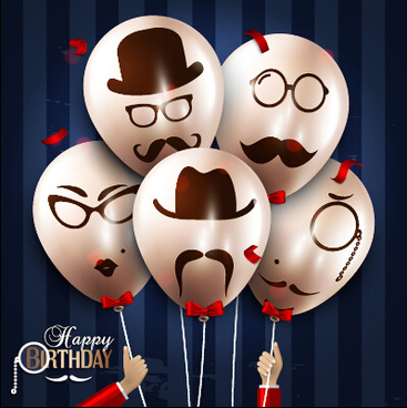 backdrop design for 21st birthday ; birthday_background_with_funny_balloon_vector_set_579797