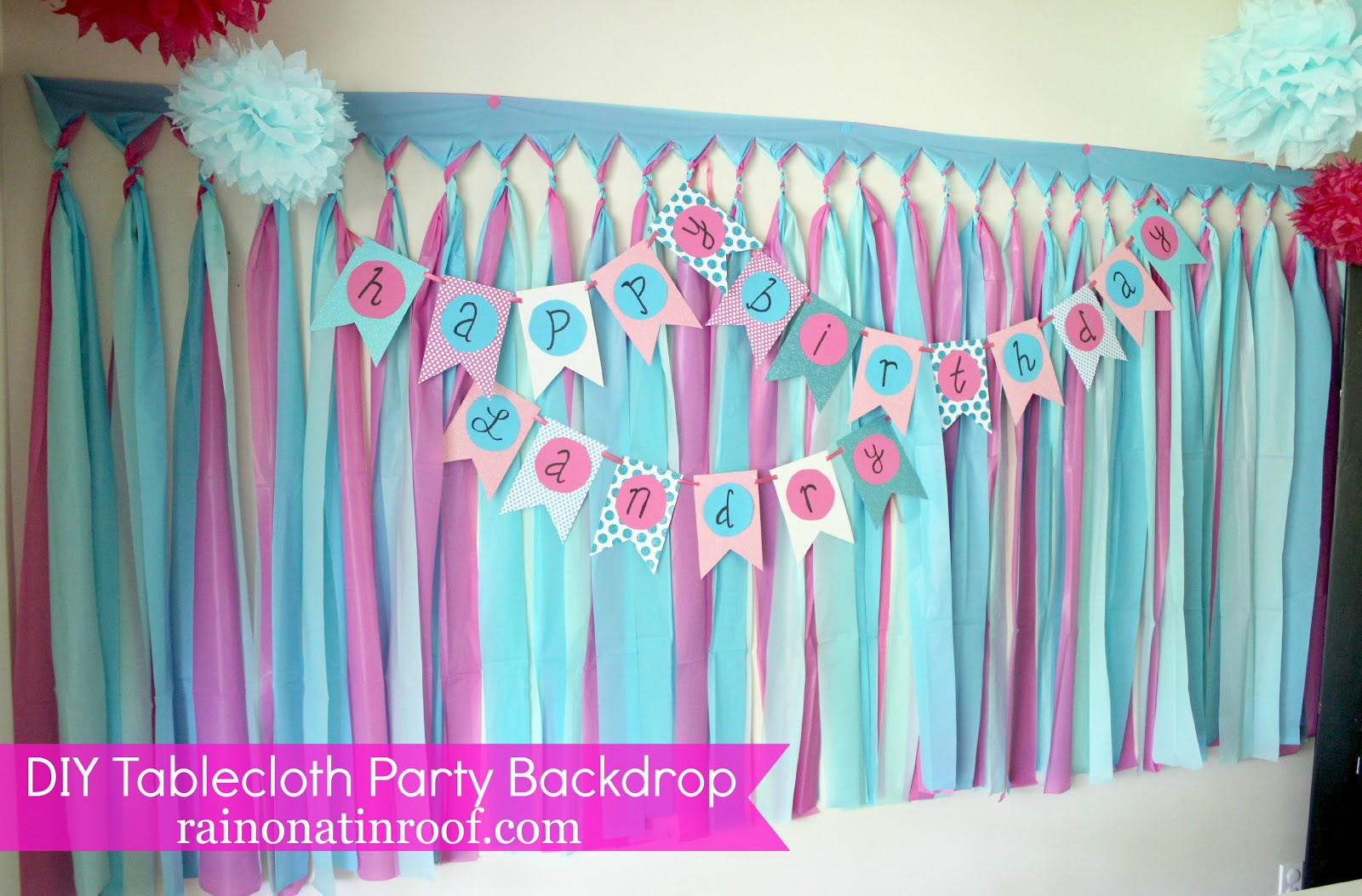 backdrop ideas for birthday party ; DIY+Tablecloth+Party+Backdrop+2