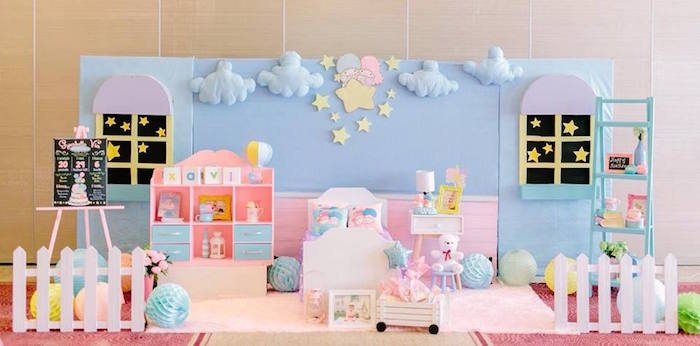 backdrop ideas for birthday party ; Sweet-Dreams-Little-Twin-Star-Inspired-Birthday-Party-via-Karas-Party-Ideas-KarasPartyIdeas