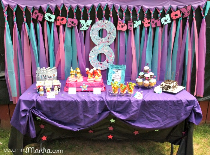 backdrop ideas for birthday party ; gorgeous-plastic-tablecloth-backdrop-35-shake-it-up-8th-birthday-party-decor-food-table